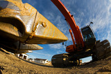 The steel teeth of a backhoe closeup(focus on steel jaw) poster