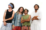 Crazy team of young multiracial friends standing isolated poster