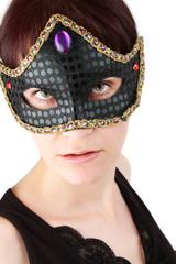 closeup portrait of a woman wearing a mask