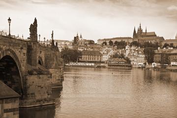 Vista of Prague near the Charles Bridge-sepia tones.