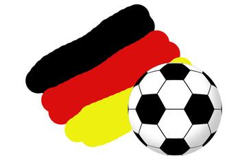 Fußball auf Deutschlandfahne