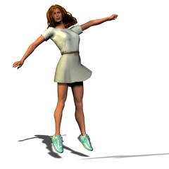 donna salta allegria