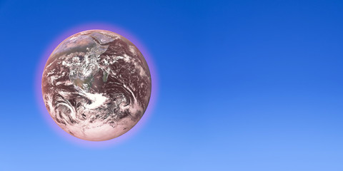 A dying Earth over a clear blue sky backdrop