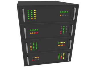 Small Web Hosting Server Rack on white
