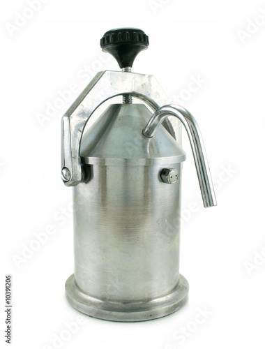 Metallic coffee percolator isolated on a white background