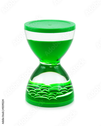 Liquid hourglass isolated on a white background