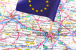 Close up of a road map of Brussels, Belgium