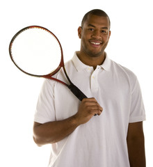 A Black Man in White Shirt with Tennis Racket Over Shoulder