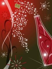 Sfondo con bottiglia di champagne per festeggiare