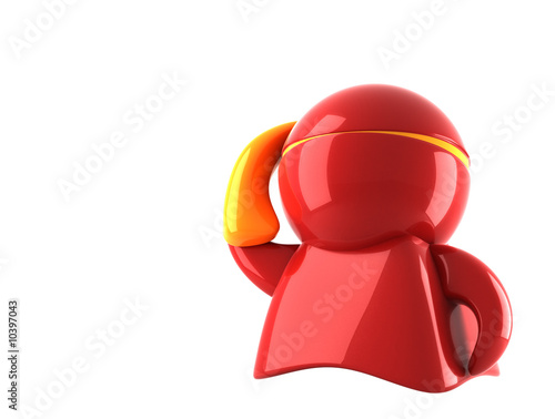 red hero with mobile phone