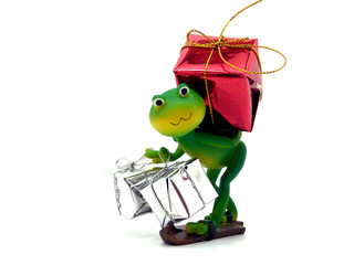 Froggy delivering gifts                            .