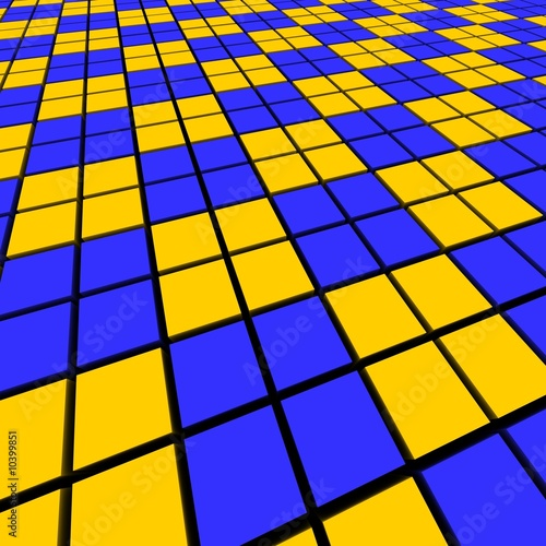 Blue and orange mosaic abstract background.  3d rendered image.