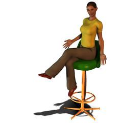 donna seduta sedia 3d