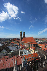 Cityscape of Munich, Bavaria, Germany. Frauenkirche cathedral.