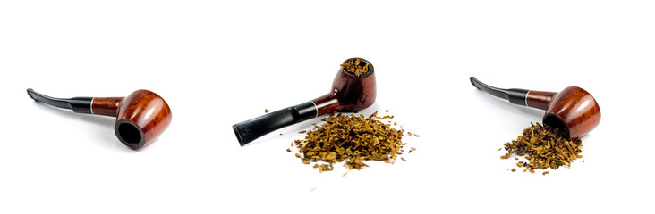 tobacco-pipe and heap of tobacco over white background