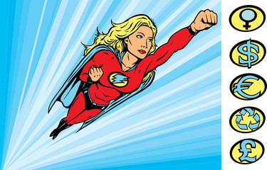 Superheroine flying into action