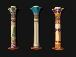 3D illustration of Egyptian pillars isolated over black
