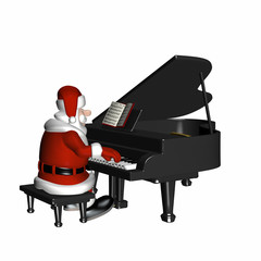 Santa playing a piano.  Isolated on a white background.