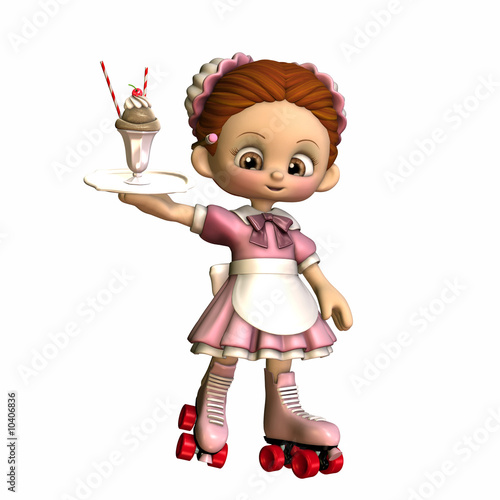 A carhop waitress on rollarskates serving an ice cream dessert