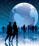 People and a large earth globe poster