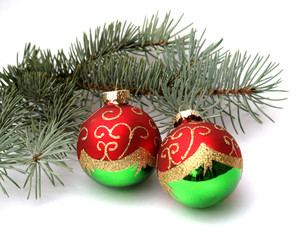 Fir Branch with Two Balls