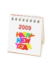 Desktop calendar showing 2009 Happy New Year