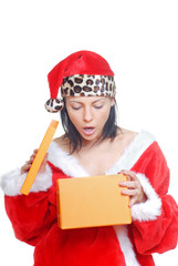 Lady in Santa Claus costume holding the opened gift box