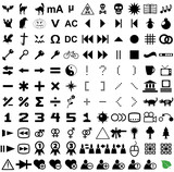 121 vector pictograms. Black-and-white contour. Set 4. poster
