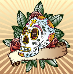 Day of the dead festival skull vector illustration