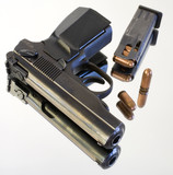 semi-automatic pistol that has a reflection poster