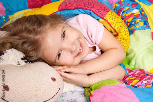 poster of 4 years girl is going to sleep. Pleasant ideas before a dream