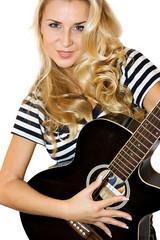 Blond female guitarist cutout on white background