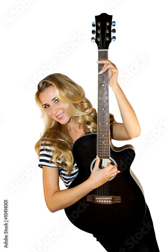 Blond female guitarist cutout on white background