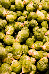 Fresh green brussels sprouts at a vegetable market