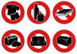 Symboles d'interdiction des types de déchets (détouré)
