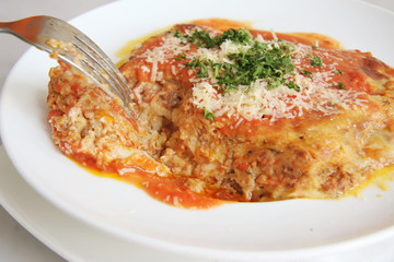 Dish of baked lasagna italian pasta cuisine