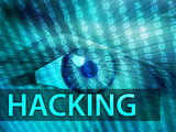 Hacking illustration, eye over digital data information poster