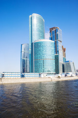 Moscow city business center. Wide angle view.