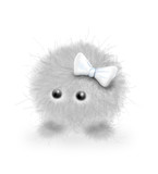 a furry grey creature with white bow poster