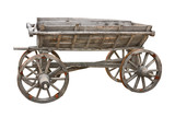 Old wooden wagon isolated on white background with clipping path
