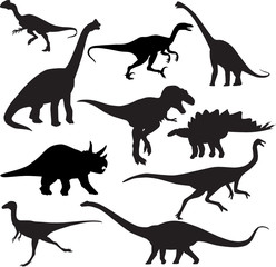 dinosaurs silhouette vector