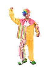 funny and colorful clown making a face on white