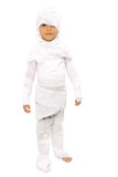 Cute Boy as the mummy on white . poster