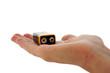 Leinwandbild Motiv An isolated image of a 9v (pp3) battery in an open palm