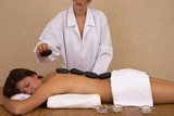 lastone massage concept with a beautiful woman at the spa poster