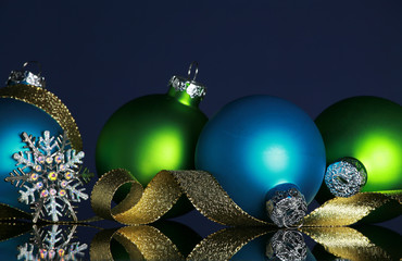 Christmas decorations blue background, focus on ball and ribbon