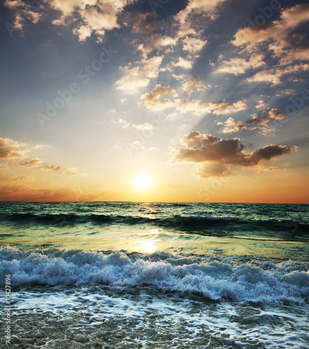 Leinwanddruck Bild Sea sunset