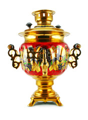 Old golden samovar isolated on a white background