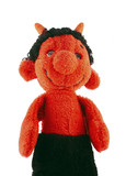 hand puppet - red furry little devil - old scratch poster