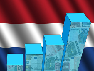 bar chart and rippled Dutch flag with euros illustration